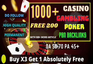 1000+ PBN Blog Post Casino/Gambling/Poker/judi Bola Niche Related High Quality Permanent Post