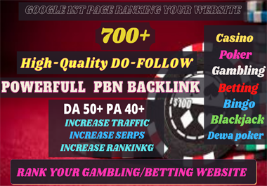 Get 700+ Manual Powerful Backlinks for UFA/CASINO/GAMBLING/POKER/Betting Sites
