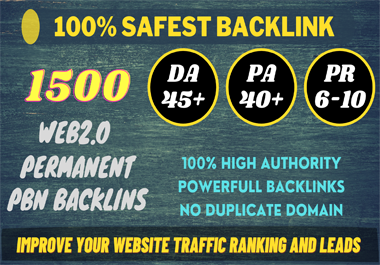 I Will Build 1500+ permanent PBN DA 45+ PA 40+ PR 6+ Web 2.0 PBN do-follow BACKLINKS