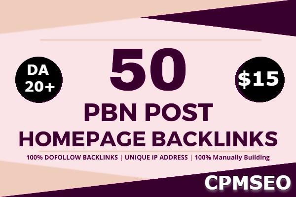 Create Manual 50 powerful SEO permanent PBN's backlinks high DA 20+ homepage