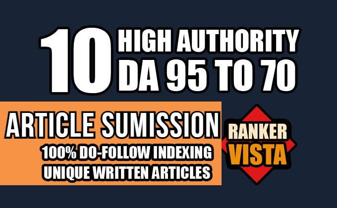 publish 10 Guest post on high quality DA 80+ Dofollow backlinks