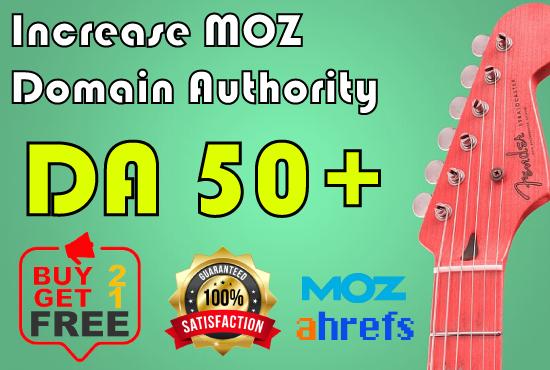 I will Increase Moz Domain Authority DA 50