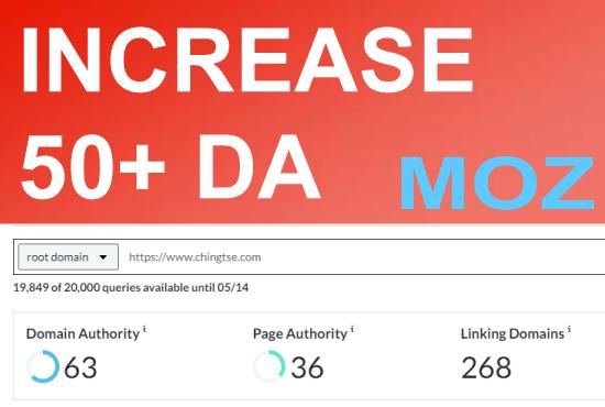 I will Increase Domain Authority DA 50