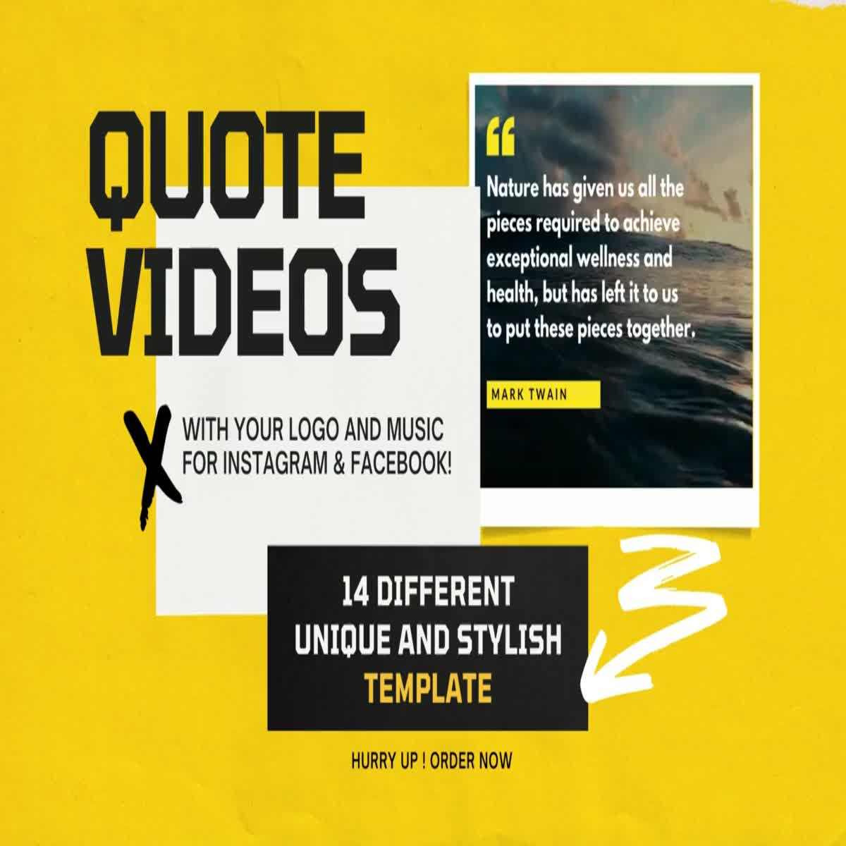 I will create motivational quotes videos for instagram with music and your logo
