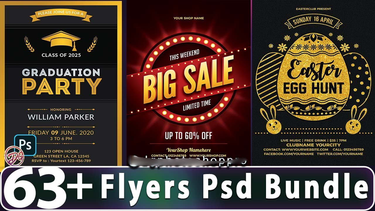 I will provide unique and professional 63 Flyer Design Template Psd Bundle
