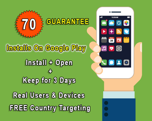 70 Installs on google play from real people and devices