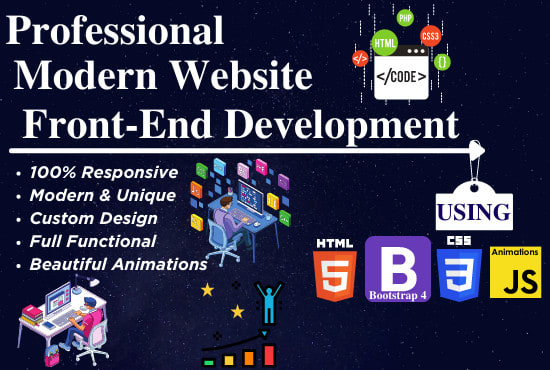 I will develop modern responsive website with HTML 5 CSS 3 bootstrap 4