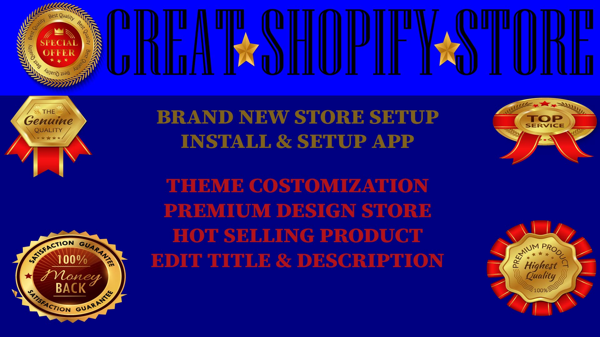 I will create shopify dropshipping store