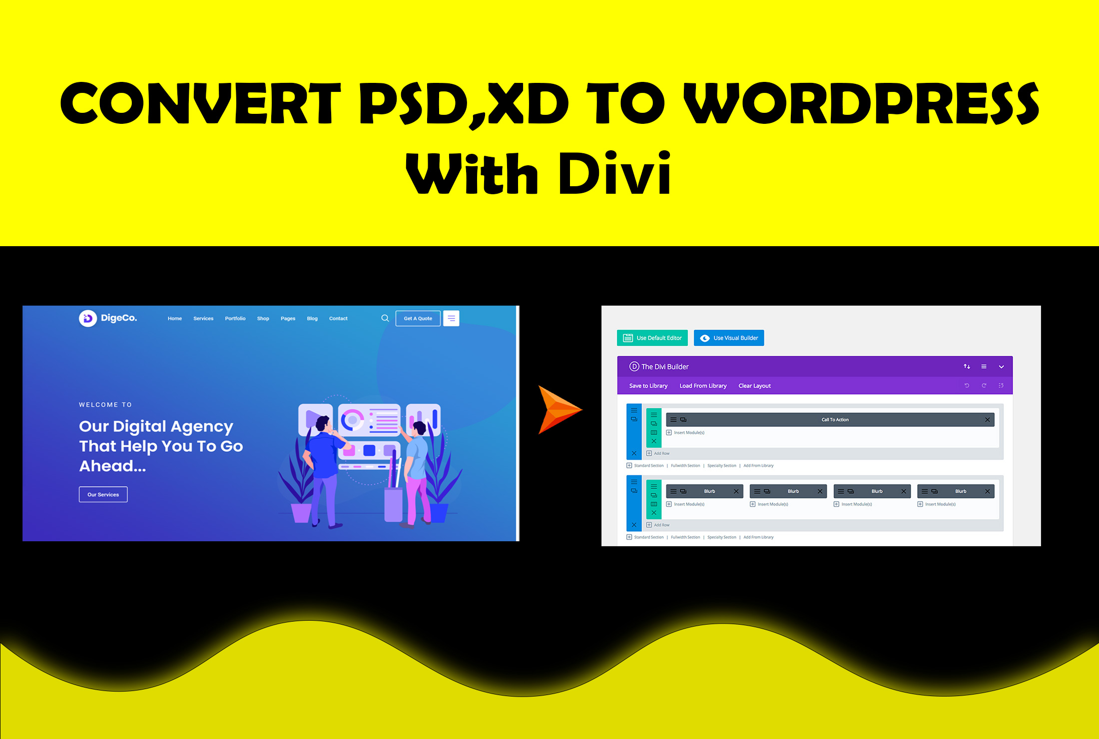 Built your wordpress website with divi builder from elegant theme