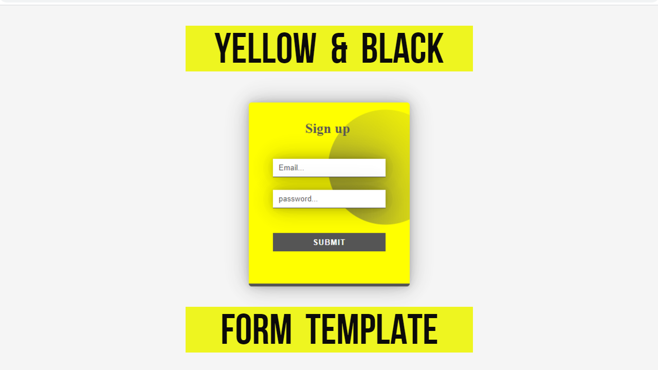 yellow and black mixed color beautiful pure css html form