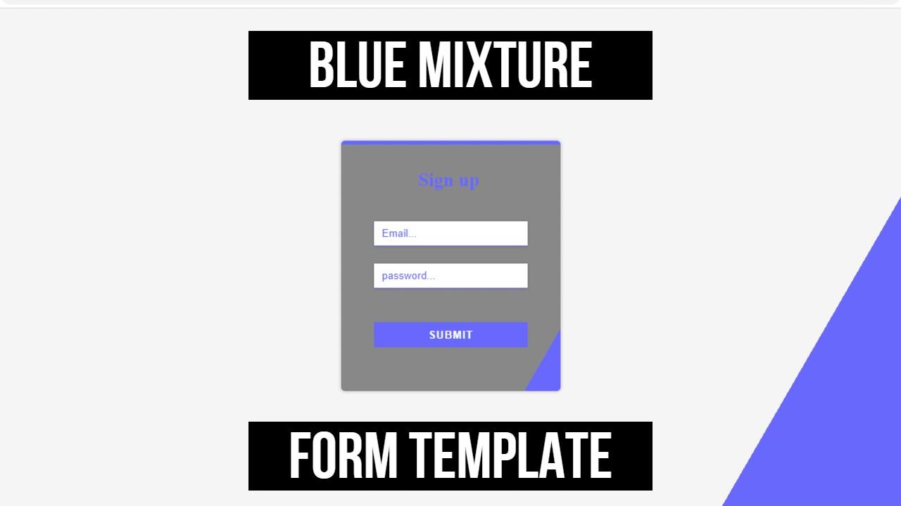 blue & dark grey html form template