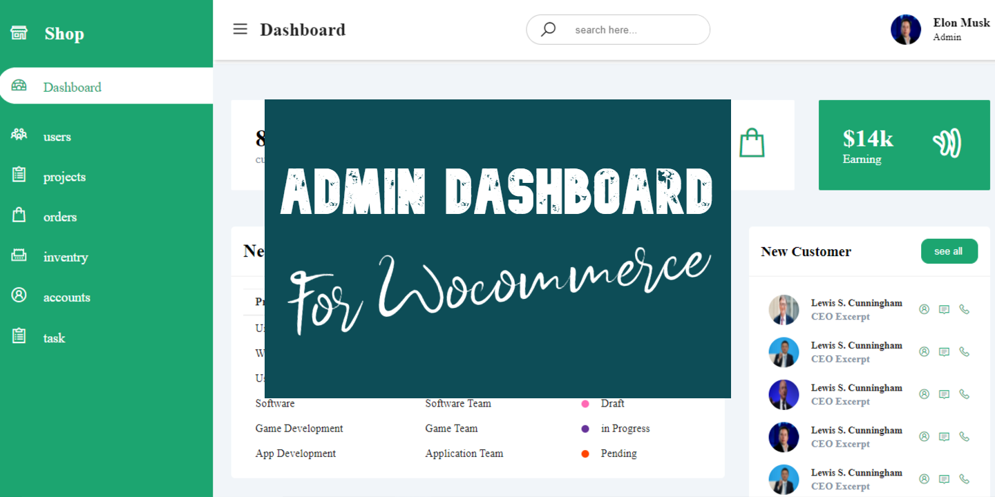 admin dashboard for woocommerce or ecommerce websites