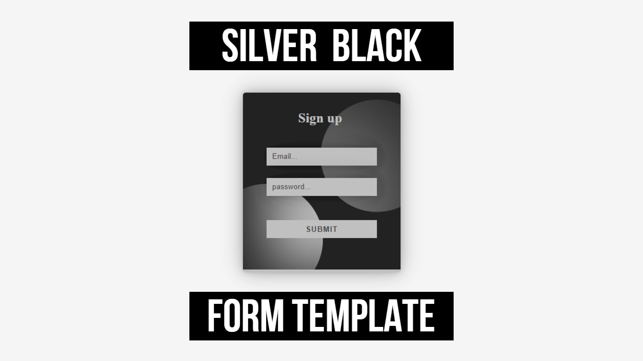 silver black pure html and css form template