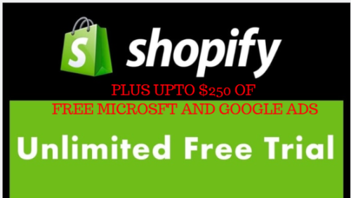 Shopify Free Store Unlimited Trial + upto 250 Free Ads credit plus 3 shopify ebooks