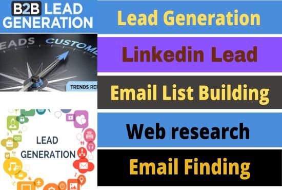 I will do Lead Generation,  B2B leads