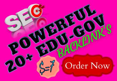 I will create Manually powerful 20+ EDU-GOV Safe High QualitY Backlinks Authority Domain