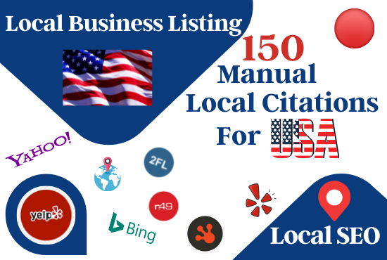 150 Manual USA local business listing in the top local citations sites for local SEO