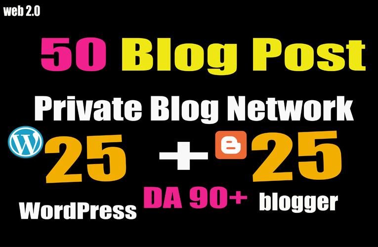 50 PBN- Blog POST WordPress and Blogger 90 High DA