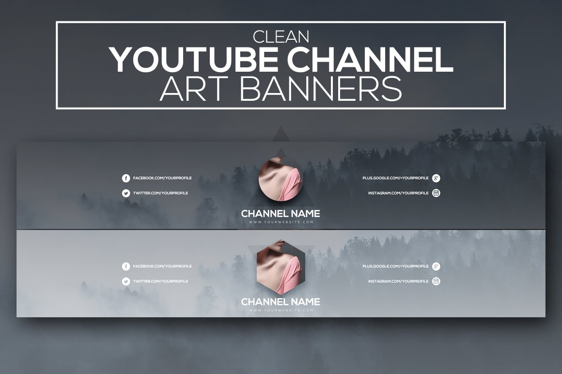 Clean Art Banners for social media platform