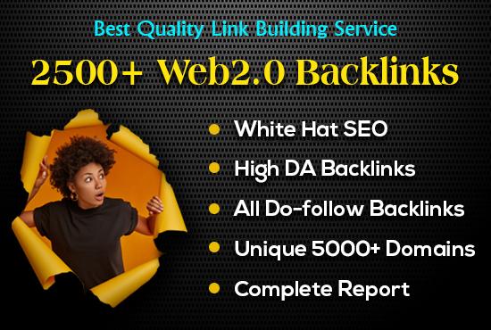 I create 2500+ web2.0 DA40+ do-follow quality backlinks for your website.
