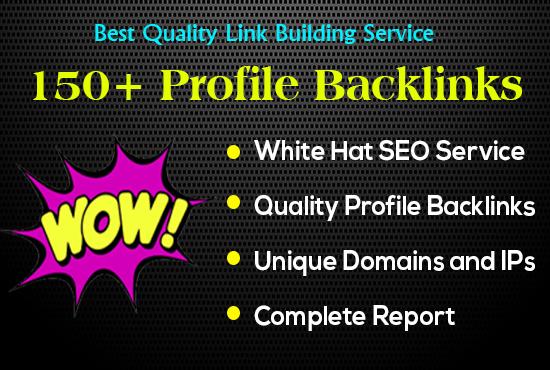 I provide high authority 150+ profile backlinks
