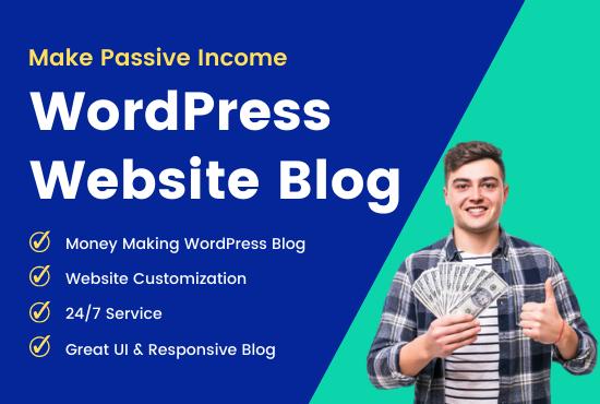 I will make passive income WordPress website blog,  affiliate store