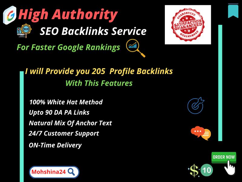 I will Provide Manually 205 high authority SEO profile backlinks.