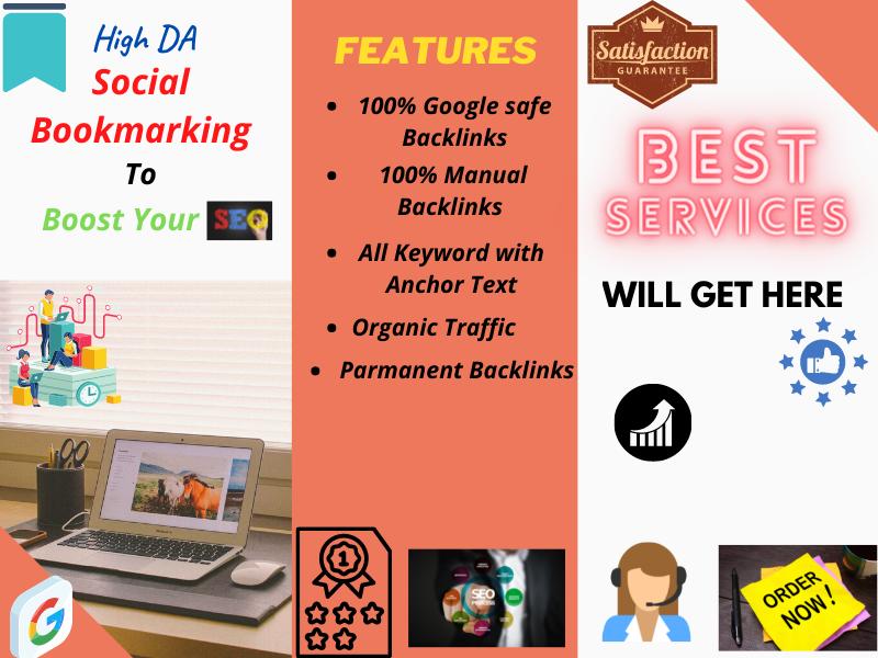 I will Do 100 SEO friendly social bookmarking backlinks for google ranking.