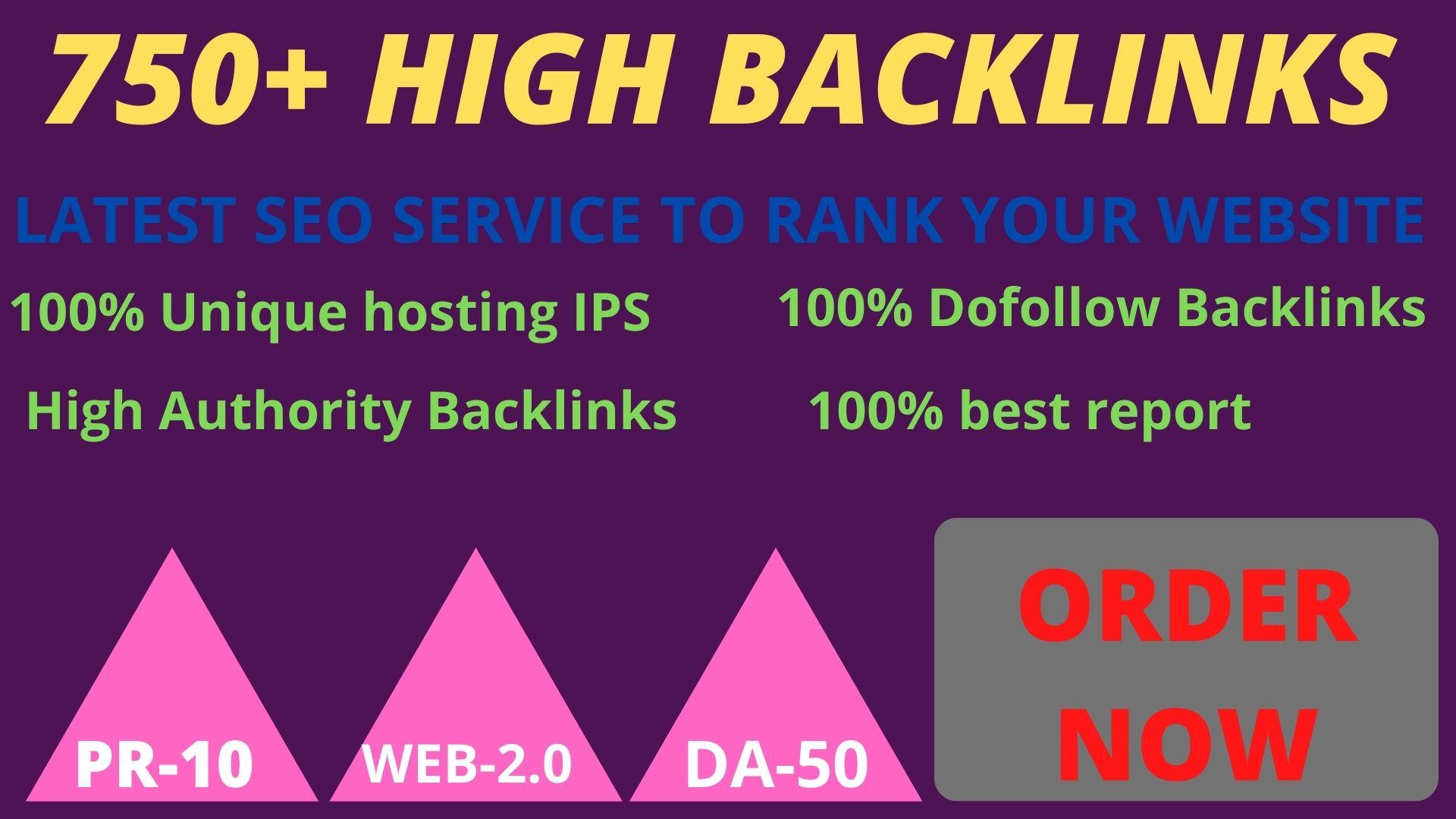 Get 750 Web 2.0 PBN Dofollow High Backlinks improve your website ranking