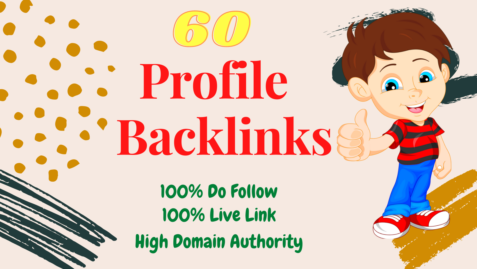 I want to give Unique Domain 60 profile backlinks with high authority DA PA