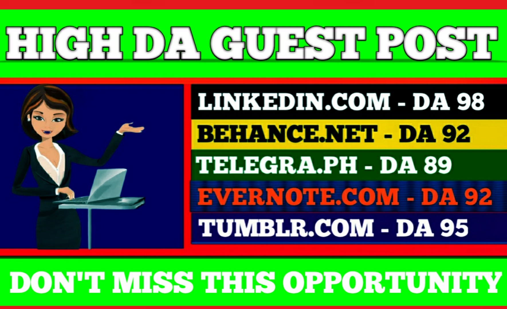 Write and publish 5 guest post on DA 90+ with permanent backlink