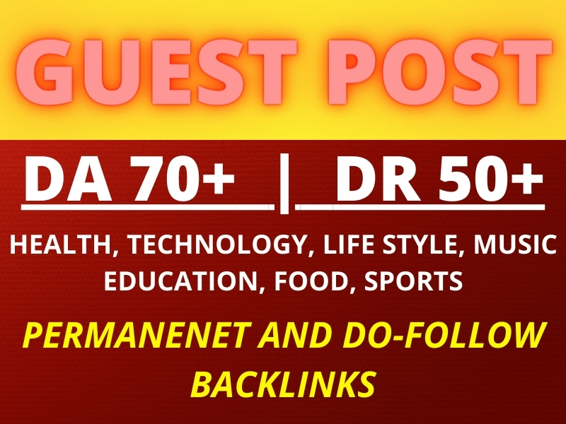 I will guest post,  high da guest post with permanent do follow backlinks