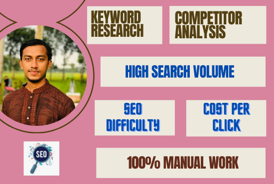 I will do manually 80 keyword research and 3 competitor analysis