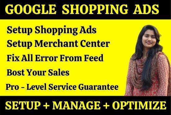 setup google shopping ads campaign and fix merchant center