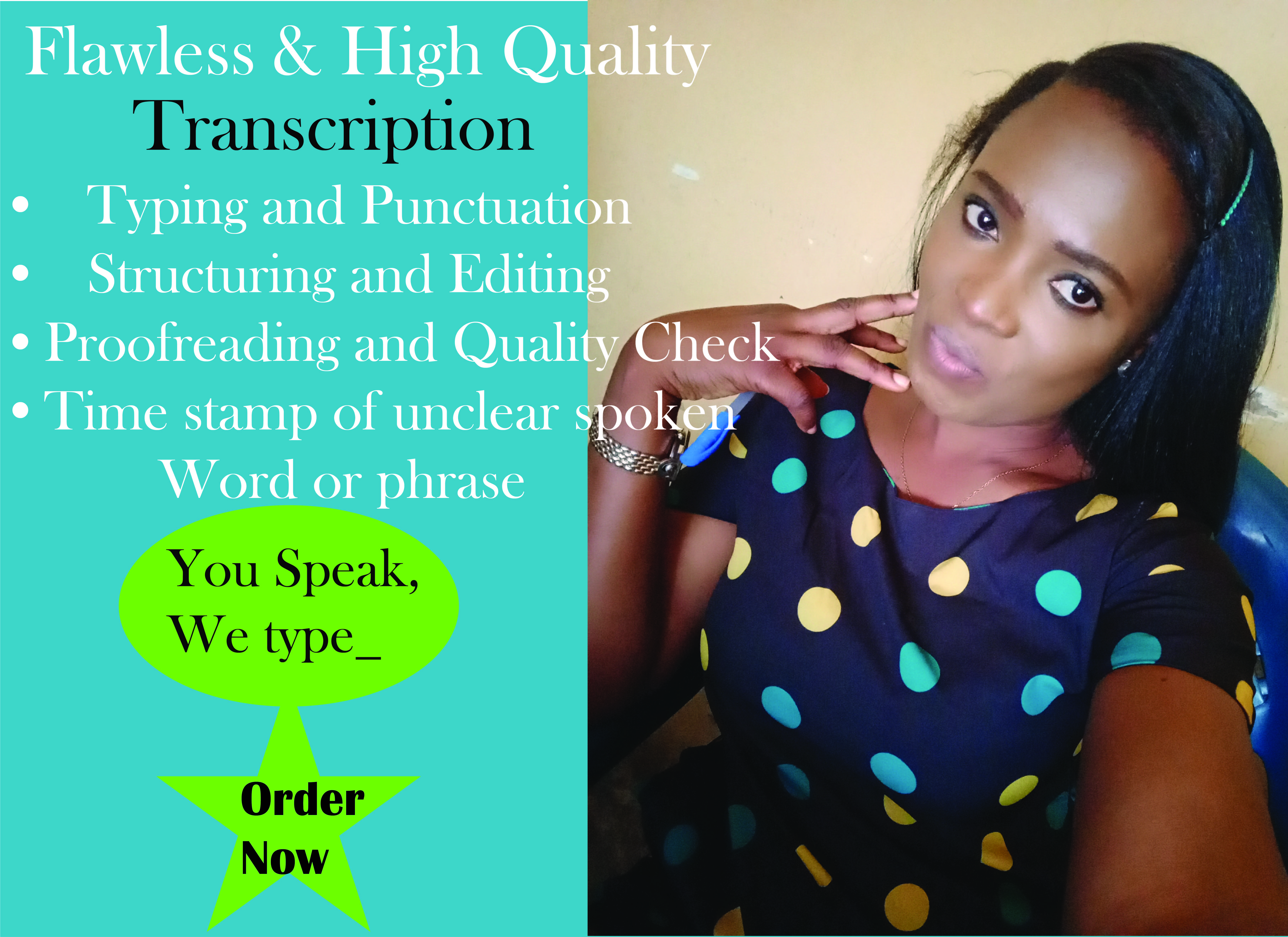 I will transcribe any of your audio or video flawlessly Up to 30 min and more