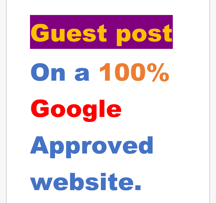 Guest Post on a 100 per cent Google Approved Website