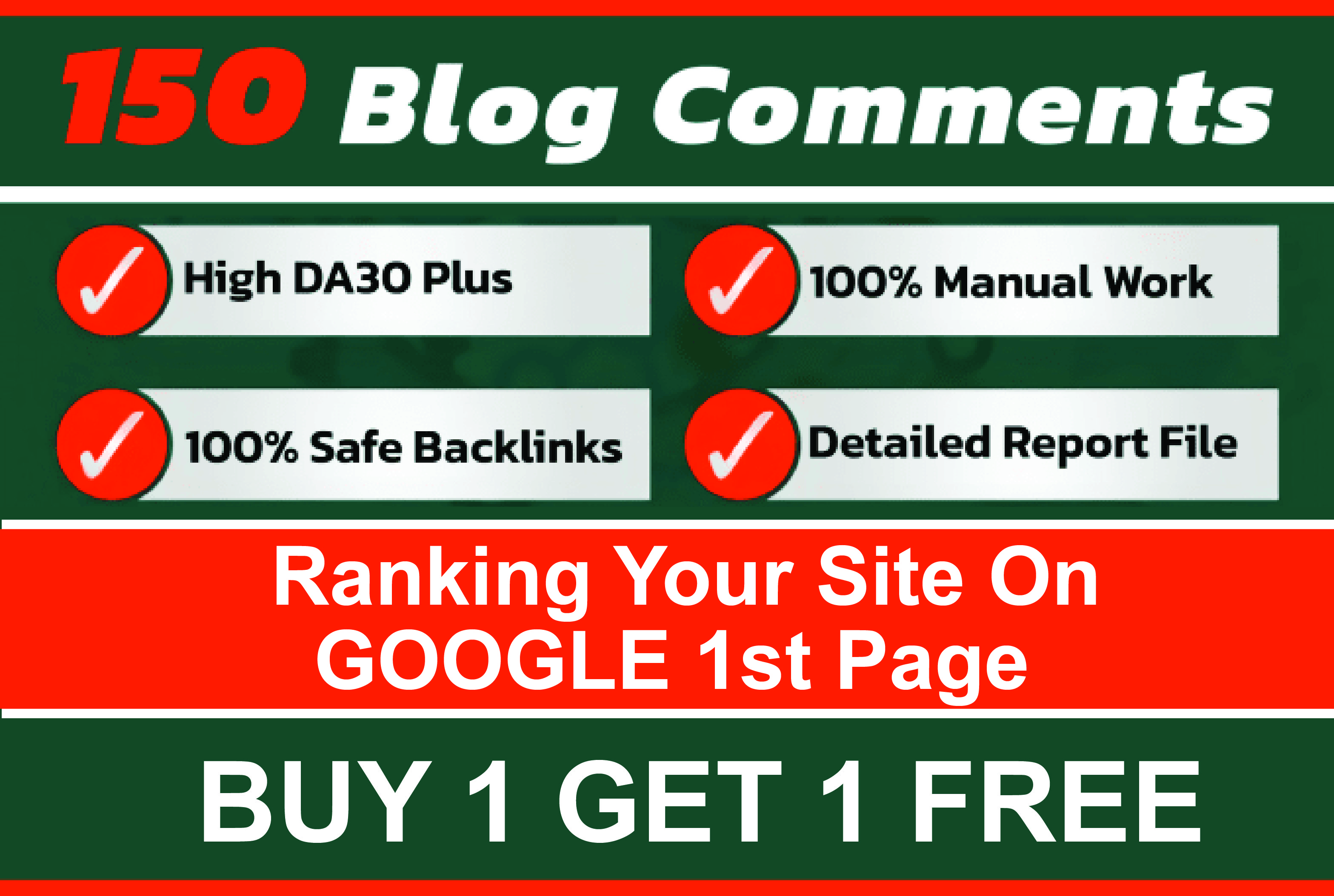 I will do 150 manually high da blog commenting buy 1 get 1 free