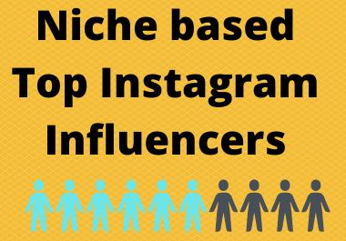 I will find niche based top Instagram influencers