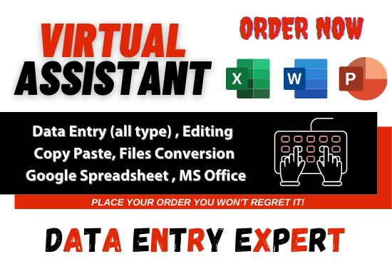 I will be your virtual assistant for all type data entry work
