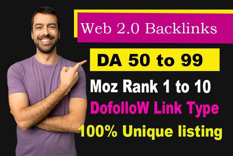 I will Build up manually 25 High DA,  Dofollow Web 2.0 Backlinks with Login,  Targeted keyword,  image