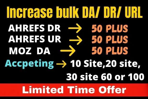 I will create bulk Moz da,  Ahrefs dr, Ahrefs url