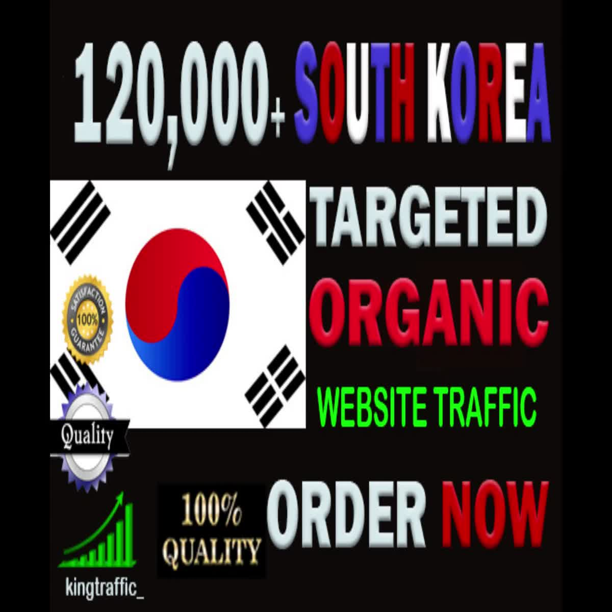 120,000 Quality South Korean web visitors real targeted Organic web traffic from South Korea