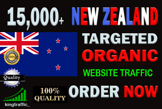 15,000 High Quality New Zealand web visitors real targeted Organic web traffic from New Zealand