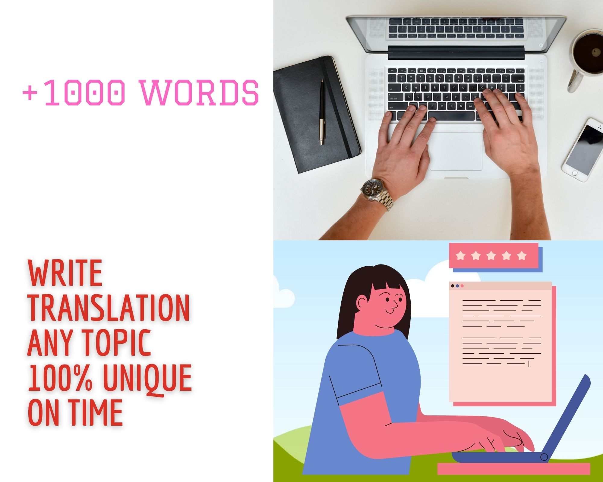 Writing articles in different Topics 100 unique +1000 WORDS