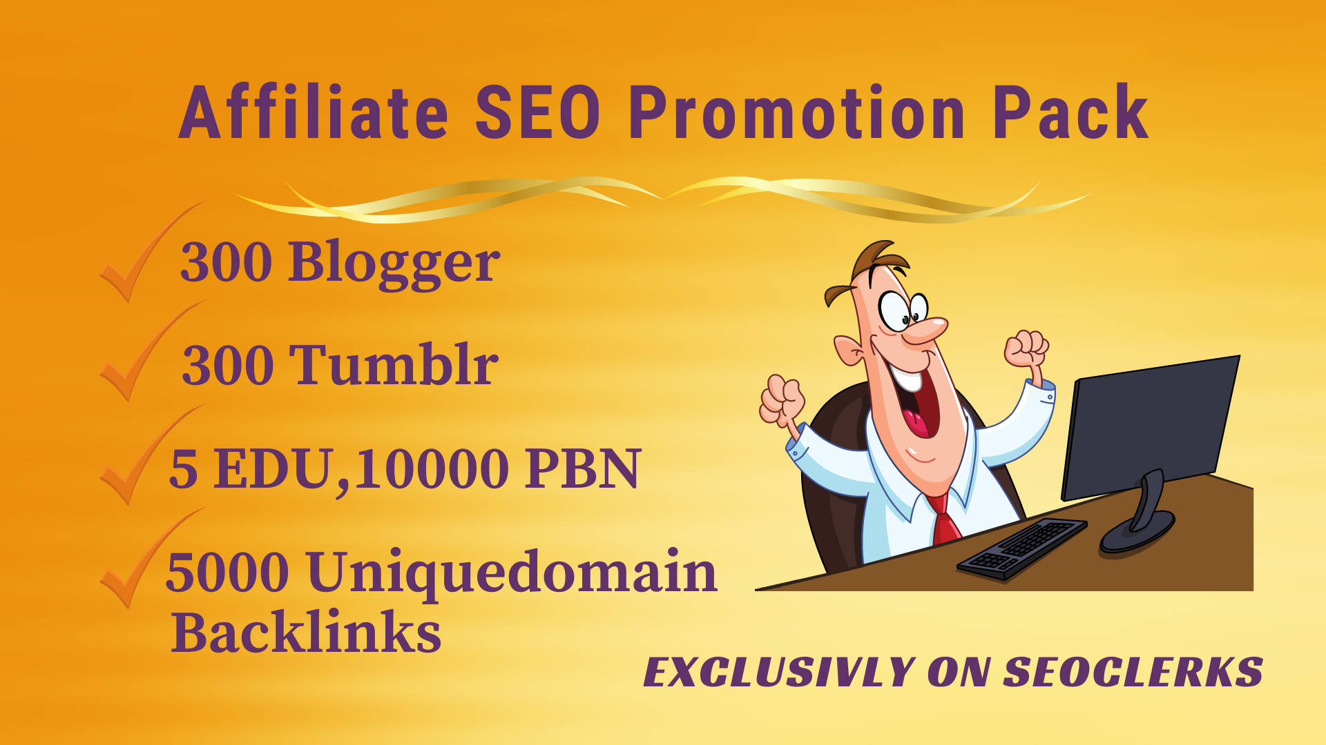 Affiliate SEO Promo Pack -Get 5 EDU,  300 Blogger, Tumblr 10000 PBN,  5000 uniquedomain backlinks