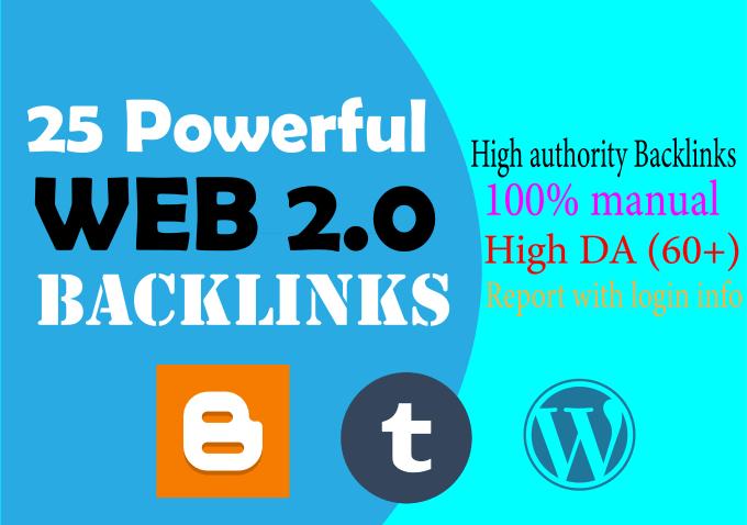 I will build 25 high da web 2 0 backlinks