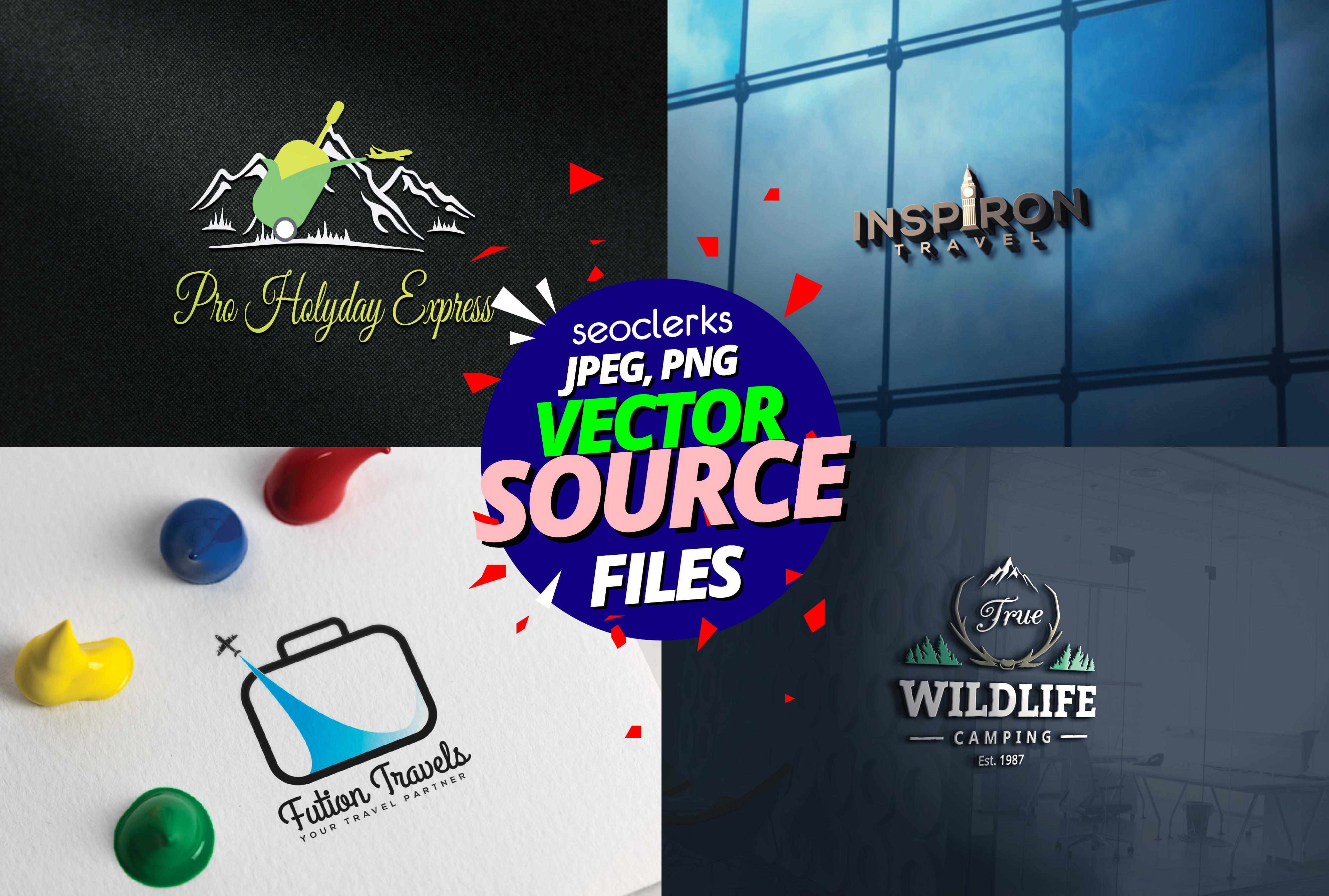 I will Design 3 travel tour blog vlog website logo for your business