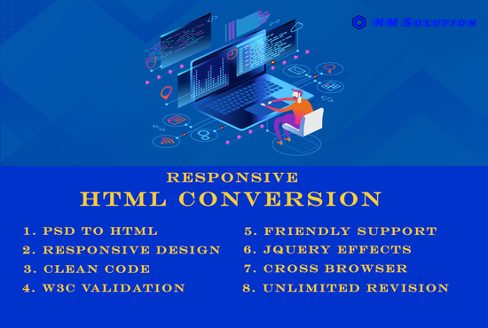 I will convert PSD to html responsive using Bootstrap 5,  CSS