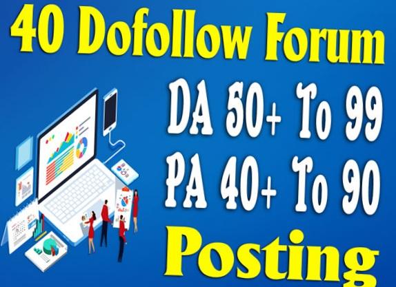 Build DA 60+ high quality 40 forums posting seo posts backlinks