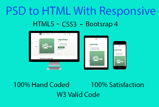 I will convert psd to html,  xd to html,  jpg to html,  png to html,  pdf to html with responsive